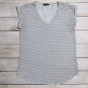Express White Checkered Blouse